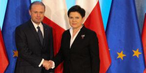 Joseph Muscat, premier Malty i Beata Szydło, prezes Rady Ministrów.